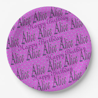 Alice, Happy Birthday, Pink Paper Plate. Paper Plate