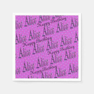 Alice, Happy Birthday, Pink Party Serviettes. Paper Napkin