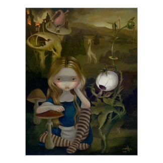 Alice in a Bosch Landscape lowbrow art Print