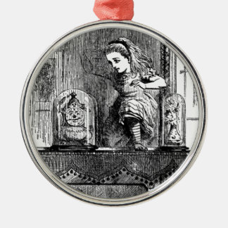 Alice in a Mirror Silver-Colored Round Ornament
