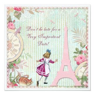 "Alice in Paris Shabby Chic Birthday 5.25"" Square Invitation Card"