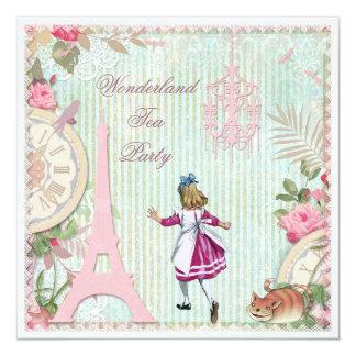 "Alice in Paris Shabby Chic Wonderland Tea Party 5.25"" Square Invitation Card"