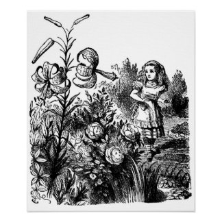 Alice in the Garden of Live Flowers Poster