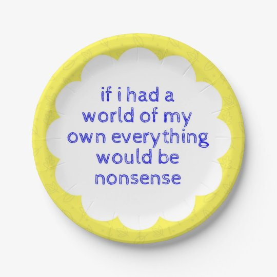Alice in Wonderland 7inch Yellow Paper Plates 7 Inch Paper Plate