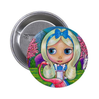 Alice in Wonderland and Flamingo Button