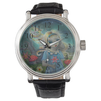 Alice in Wonderland and the Cheshire Cat Art Wristwatch