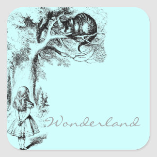 Alice in Wonderland and the Cheshire Cat Square Sticker