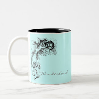 Alice in Wonderland and the Cheshire Cat Two-Tone Coffee Mug