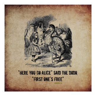 Alice (In Wonderland) And The Dodo Funny Poster