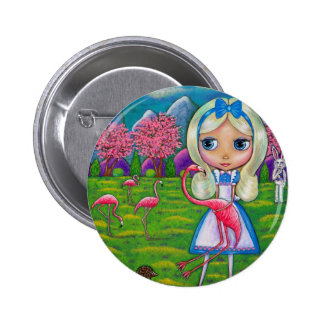 Alice in Wonderland and the Flamingos 2 Inch Round Button