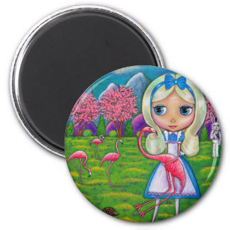 Alice in Wonderland and the Flamingos Magnet