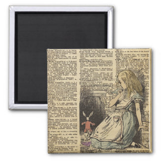 Alice In Wonderland and the White Rabbit Magnet