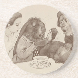 Alice in Wonderland, at the Tea Table Beverage Coasters