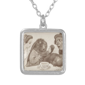 Alice in Wonderland, at the Tea Table Silver Plated Necklace