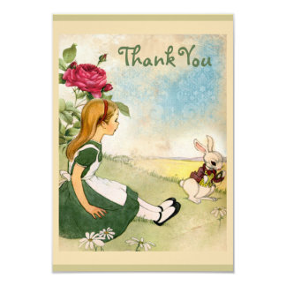 "Alice in Wonderland Baby Shower Thank You 3.5"" X 5"" Invitation Card"