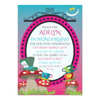 Alice in Wonderland birthday tea party invitation
