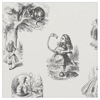 Alice in Wonderland Black and White Fabric