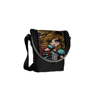 Alice in Wonderland Black & White Fantasy Art Messenger Bags