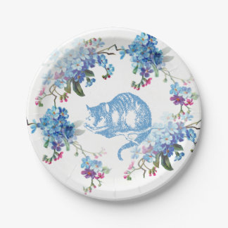 Alice in Wonderland Blue Cheshire Cat Paper Plate