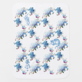 Alice in Wonderland Blue Floral Baby Blanket