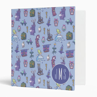 Alice In Wonderland | Blue Monogram Pattern 3 Ring Binders