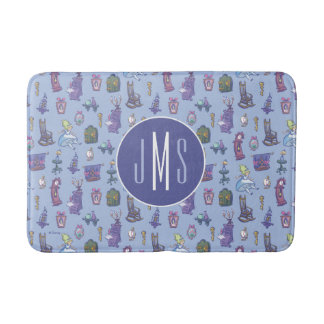 Alice In Wonderland | Blue Monogram Pattern Bath Mat