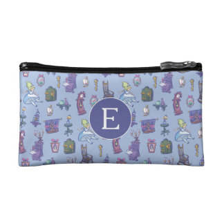 Alice In Wonderland | Blue Monogram Pattern Cosmetics Bags