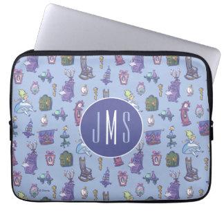 Alice In Wonderland   Blue Monogram Pattern Laptop Sleeve