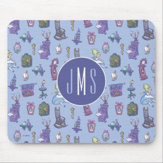 Alice In Wonderland | Blue Monogram Pattern Mouse Pad