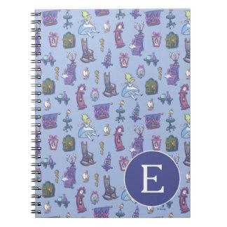 Alice In Wonderland | Blue Monogram Pattern Spiral Notebooks