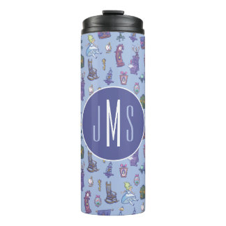 Alice In Wonderland | Blue Monogram Pattern Thermal Tumbler