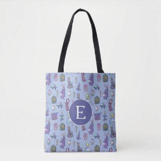Alice In Wonderland | Blue Monogram Pattern Tote Bag