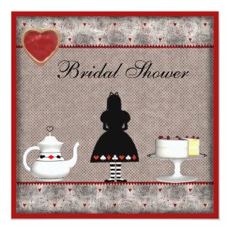 """Alice in Wonderland Bridal Shower Tea Party Invite 5.25"""" Square Invitation Card"""