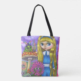 Alice in Wonderland & Caterpillar & Flowers Cute Tote Bag