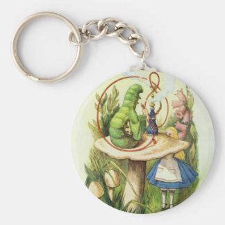 Alice in Wonderland Caterpillar Hookah Button Keychain