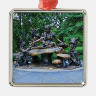 Alice in Wonderland - Central Park NYC Silver-Colored Square Ornament