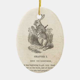 Alice In Wonderland, Chapter One, Down the Rabbit Ceramic Oval Ornament