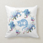 Alice in Wonderland Cheshire Cat Blue Floral Throw Pillow
