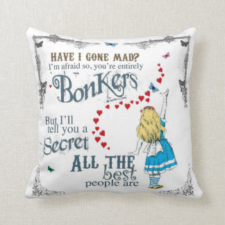 Alice in Wonderland Cushion with mad hatter quote
