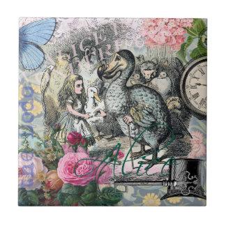 Alice in Wonderland Dodo  Vintage Pretty Collage Ceramic Tiles