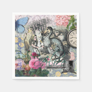 Alice in Wonderland Dodo  Vintage Pretty Collage Disposable Napkins