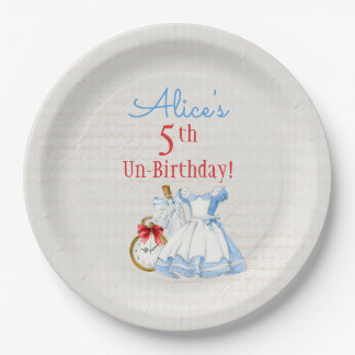 Alice in Wonderland Drink Me Potion Blue Dress Paper Plate