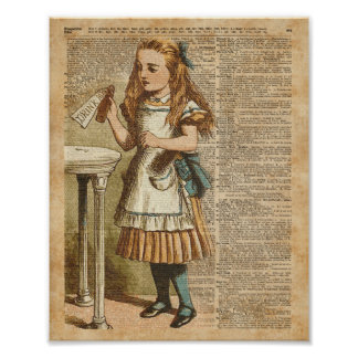 Alice In Wonderland Drink Me Vintage Book Page Art Poster