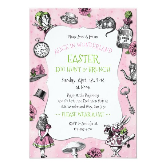 Alice in Wonderland Easter Brunch Card