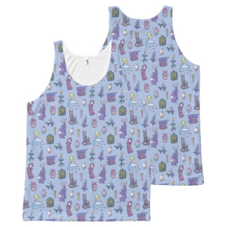Alice In Wonderland   Falling Down Pattern Blue All-Over-Print Tank Top