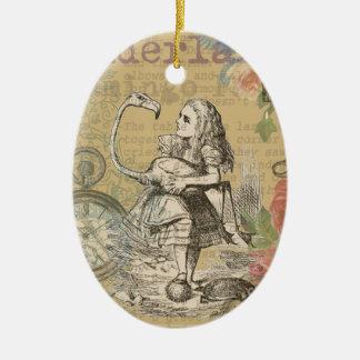 Alice in Wonderland Flamingo Mad Tea Party Ceramic Ornament