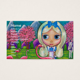 Alice in Wonderland & Flamingos Business Card
