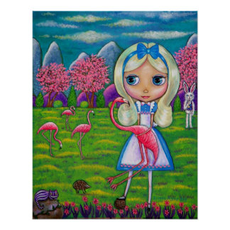 Alice in Wonderland & Flamingos Rabbit Hedgehog Poster