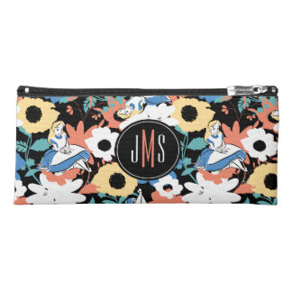 Alice in Wonderland Floral Retro Monogram 2 Pencil Case