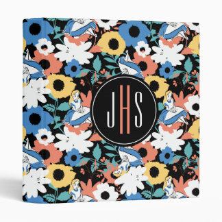 Alice in Wonderland Floral Retro Monogram 3 Ring Binder